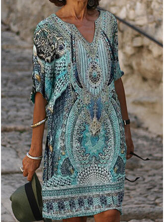 Print 1/2 Sleeves Shift Knee Length Casual/Boho/Vacation Tunic Dresses