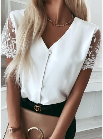 Solid Lace V-Neck Short Sleeves Button Up Elegant Shirt Blouses