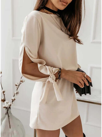 Solid 3/4 Sleeves Slit Sleeve Shift Above Knee Casual Tunic Dresses