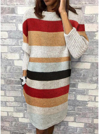 Color Block Striped Round Neck Casual Sweater Dress