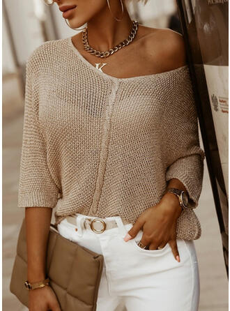 Solid V-Neck Casual Knit Tops