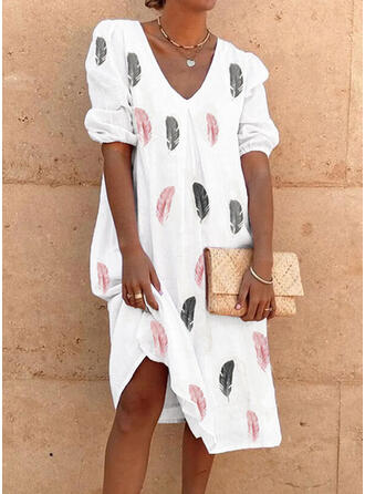 Print Short Sleeves/Puff Sleeves Shift Knee Length Casual Tunic Dresses