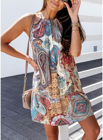 Print Sleeveless Shift Above Knee Boho/Vacation Dresses