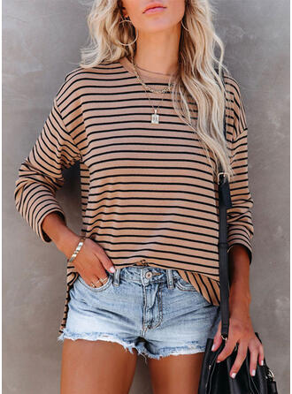 Striped Round Neck Long Sleeves T-shirts