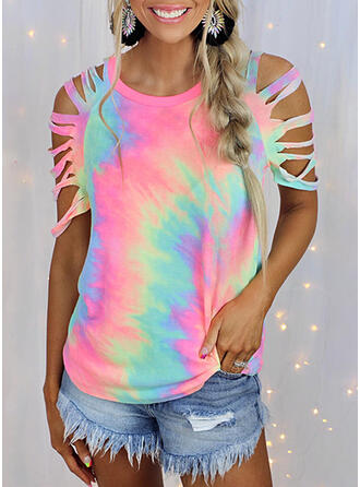Tie Dye Cold Shoulder 1/2 Sleeves T-shirts