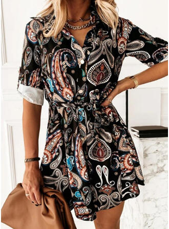 Print Long Sleeves A-line Above Knee Casual Shirt Dresses
