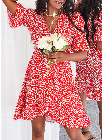 Print/Floral 1/2 Sleeves Puff Sleeve A-line Above Knee Casual Wrap/Skater Dresses