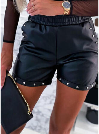 Solid Plus Size Sexy Shorts