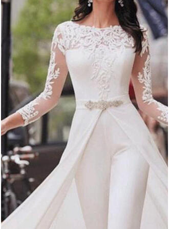 Solid Lace Round Neck 3/4 Sleeves Casual Elegant Party Jumpsuit
