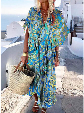 Print/Floral 1/2 Sleeves/Flare Sleeves Shift Boho/Vacation Maxi Dresses