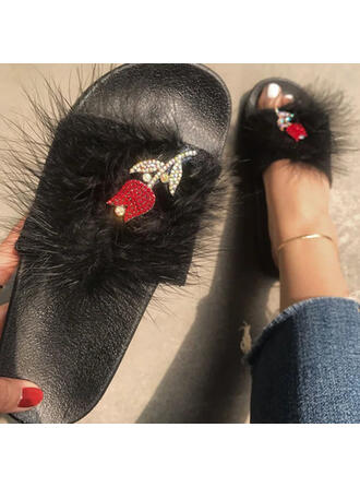 Women's PVC Flat Heel Sandals Flats Peep Toe Slippers With Hollow-out Faux-Fur shoes
