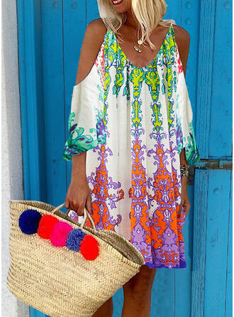 Print 3/4 Sleeves Shift Above Knee Boho/Vacation Tunic Dresses