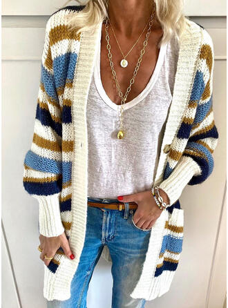 Striped Pocket Casual Cardigan