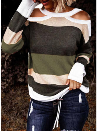 Color Block Cold Shoulder Casual Sweaters