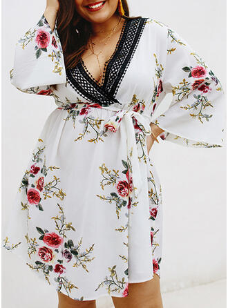 Plus Size Floral Print Flare Sleeve Long Sleeves A-line Above Knee Vacation Dress