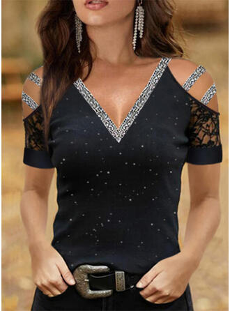 Print Lace Sequins Cold Shoulder Short Sleeves Casual Blouses
