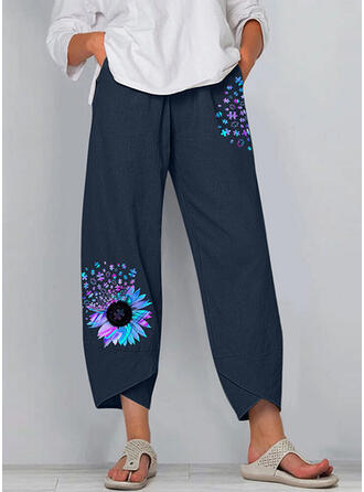 Print Cropped Casual Pants