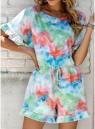 Polyester Round Neck Short Sleeves Tie Dye Pyjama Set