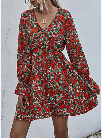 Print/Floral Long Sleeves/Flare Sleeves A-line Above Knee Casual Skater Dresses