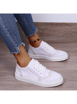 Women's PU Flat Heel Flats Round Toe Espadrille With Lace-up Stripe shoes