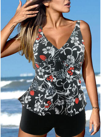 Print Splice color Strap V-Neck Beautiful Retro Tankinis Swimsuits