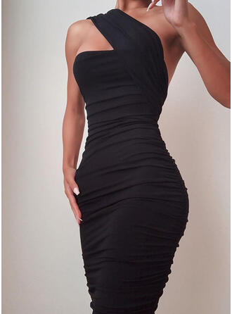 Solid Sleeveless Bodycon Knee Length Little Black/Sexy/Party Pencil Dresses