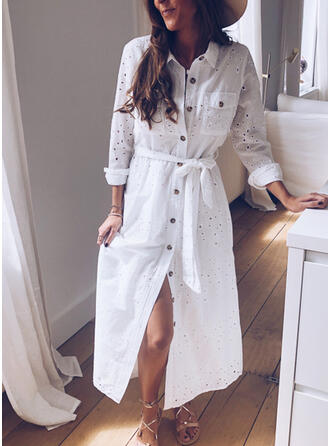 Solid Long Sleeves Sheath Shirt Casual Midi Dresses