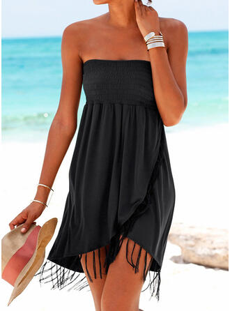 Solid Strapless Casual Vacation Cover-ups Swimsuits