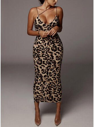 Print/Leopard Sleeveless Bodycon Pencil/Slip Sexy/Party Midi Dresses