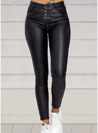 Solid Shirred Drawstring Sexy Leather Vintage Pants