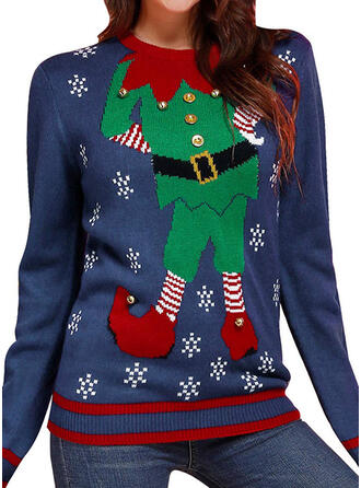 Women's Polyester Cartoon Ugly Christmas Sweater