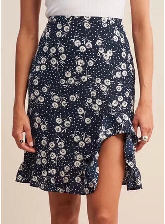 Polyester Print Floral Above Knee Pencil Skirts
