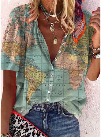 Print Letter V-Neck Short Sleeves Button Up Casual Shirt Blouses