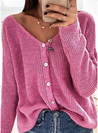 Solid Ribbed V-Neck Casual Cardigan