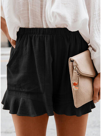 Solid Shirred Above Knee Casual Shorts