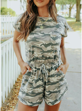 Camouflage Round Neck Short Sleeves Casual Romper