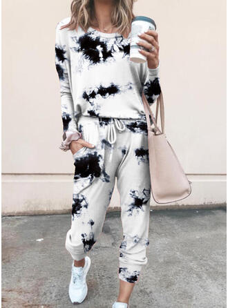 Plus Size Tie Dye Drawstring Casual Sporty Suits