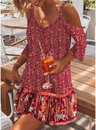 Print/Floral 3/4 Sleeves/Cold Shoulder Sleeve Shift Above Knee Casual/Boho/Vacation Dresses