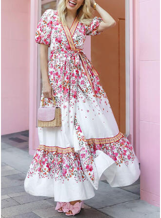 Floral Short Sleeves Puff Sleeve A-line Floor Length Vacation Dresses