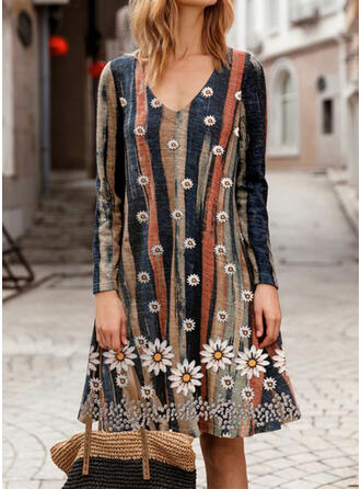 Print/Floral/Striped Long Sleeves Shift Knee Length Casual Tunic Dresses