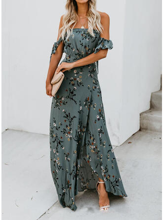 Print/Floral Short Sleeves A-line Skater Sexy/Party Maxi Dresses