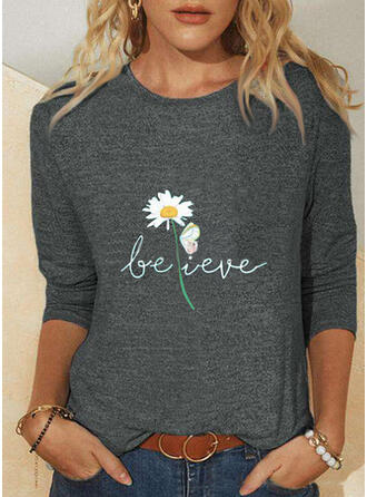 Animal Print Figure Floral Round Neck Long Sleeves T-shirts