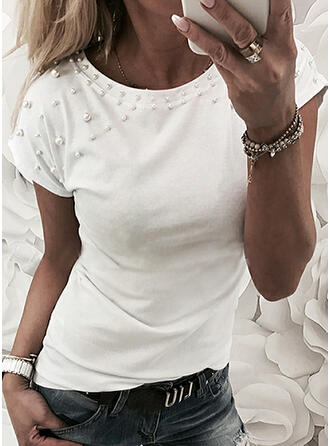 Beaded Solid Round Neck Short Sleeves T-shirts