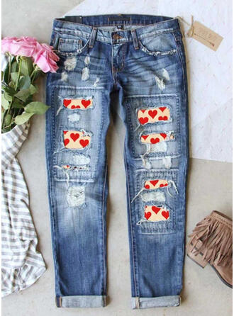 Print Ripped Denim & Jeans