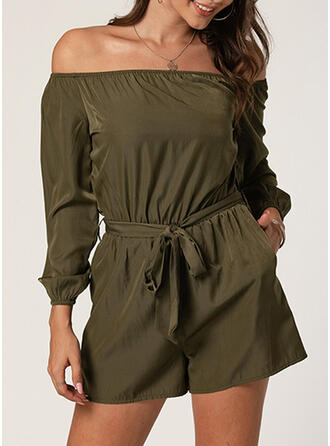 Solid Cold Shoulder Long Sleeves Casual Romper