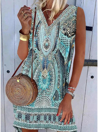 Print Sleeveless Shift Above Knee Casual/Boho Dresses