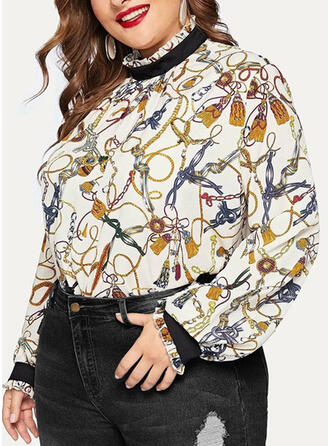 Print Stand collar Long Sleeves Casual Plus Size Blouses