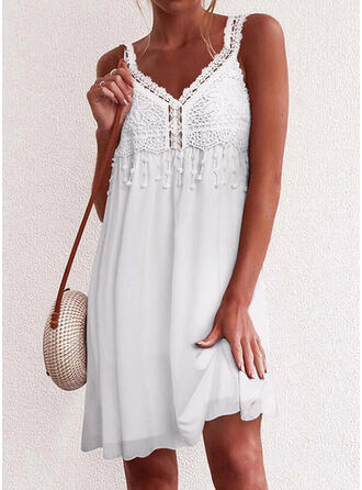 Lace/Solid/Tassel Sleeveless Shift Above Knee Casual/Vacation Dresses