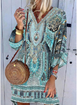 Splice color Tropical Print V-Neck Attractive Plus Size Casual Boho Cover-ups Swimsuits