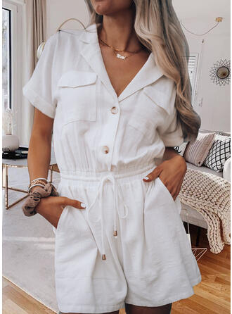 Solid Suit Collar Short Sleeves Casual Romper